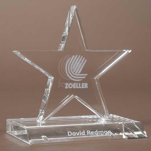 13cm Optical Crystal 5 Pointed Star Award