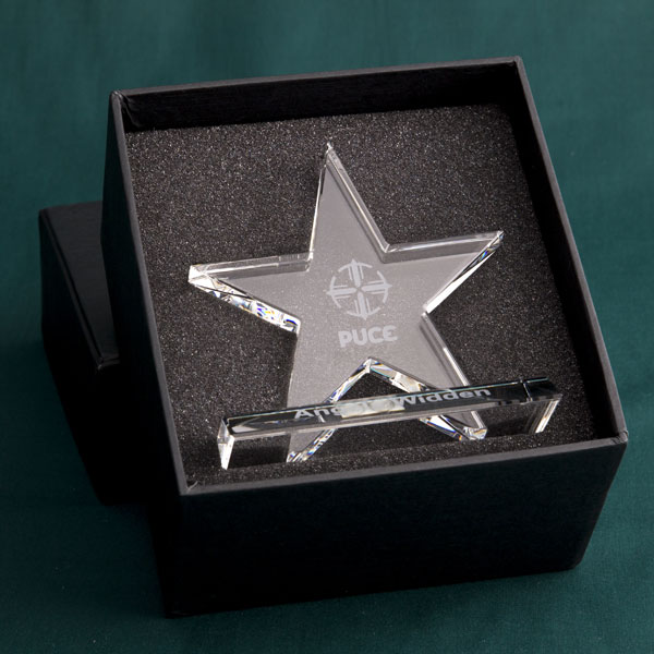 11cm Optical Crystal 5 Pointed Star Award