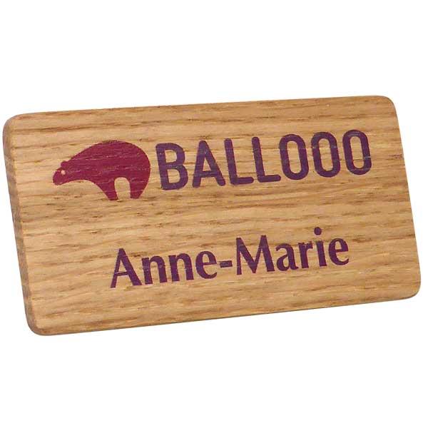 Real Wood Name Badge